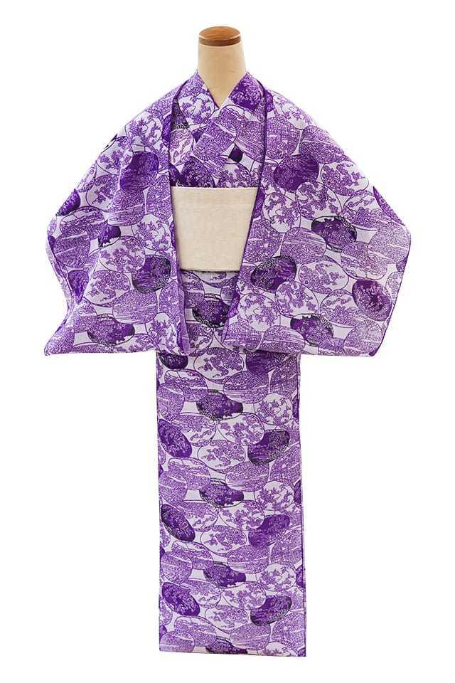 【反物】女性 『紅梅小紋』貝合わせ 紫