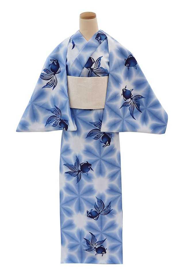 【通販限定浴衣反物】女性 『板締ゆかた:キングサイズ』金魚 ブルー