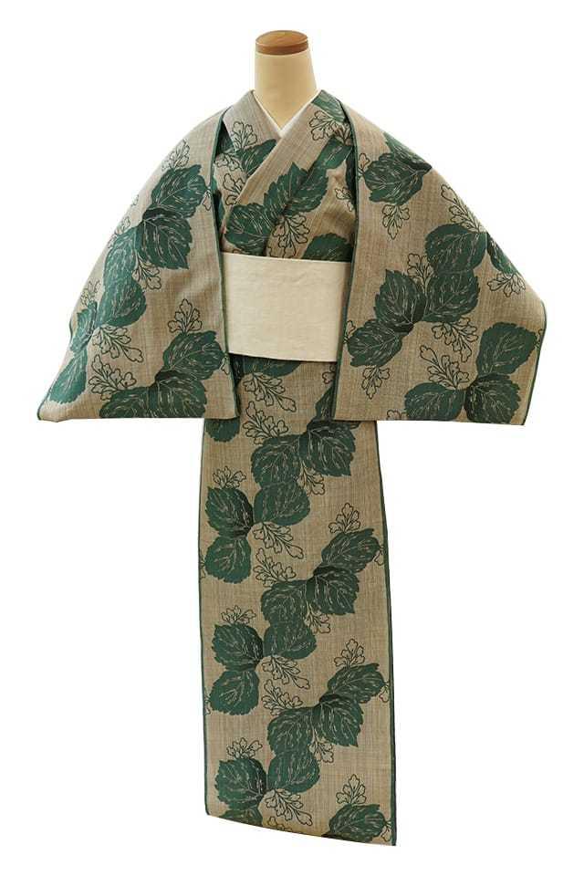 【反物】女性 『松煙染小紋』桐 グリーン