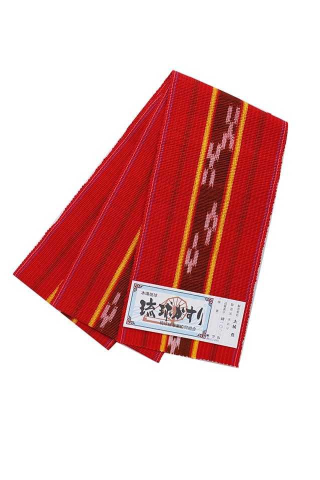 【琉球かすり半巾帯】赤地 茶絣黄縞