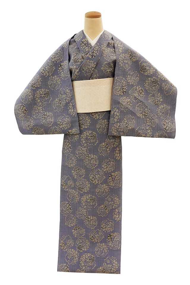 【反物】女性 『松煙染小紋』藤 丸紋