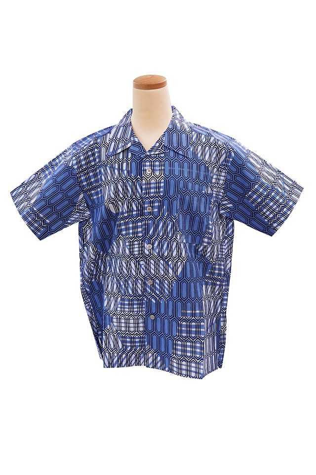 【竺仙アロハシャツ】亀甲にローケツ染切り継ぎ模様<Mサイズ>