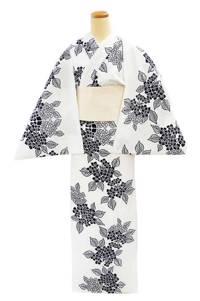 【反物】女性 『コーマ白地』紫陽花