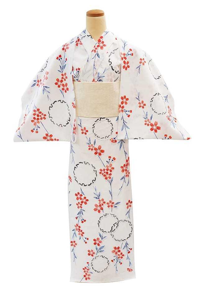 【反物】女性 『コーマ白地差分』雪輪にしだれ桜
