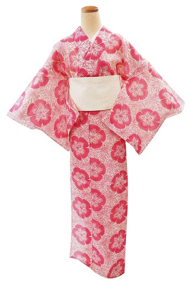 【アウトレットプレタ】 絹紅梅 撫子と糸菊 ピンク