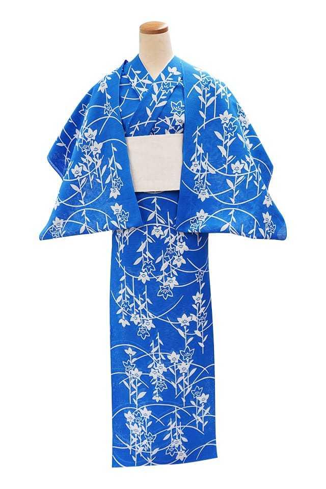 【反物】女性 『綿絽地染』 桔梗に露芝 ブルー地