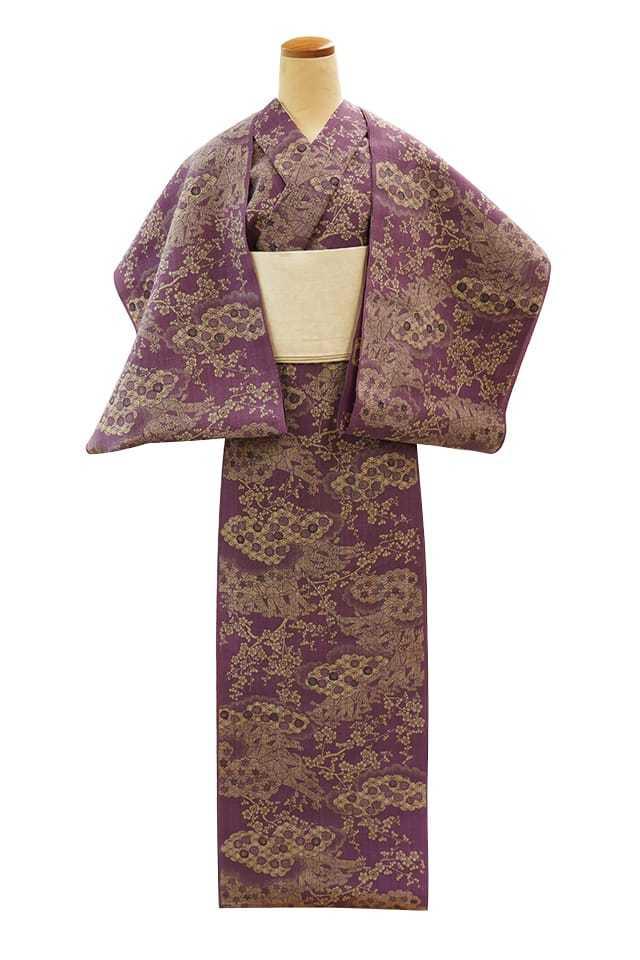 【反物】女性 『松煙染小紋』雲取り竹垣に梅 古代紫