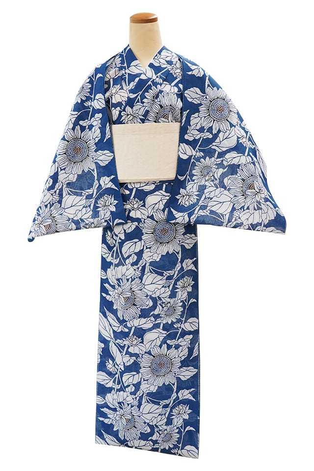 【反物】女性 『紅梅小紋』向日葵