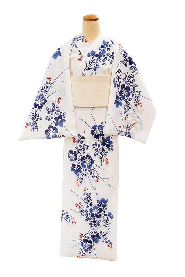 【反物】女性 『綿絽 白地』 撫子桔梗と萩