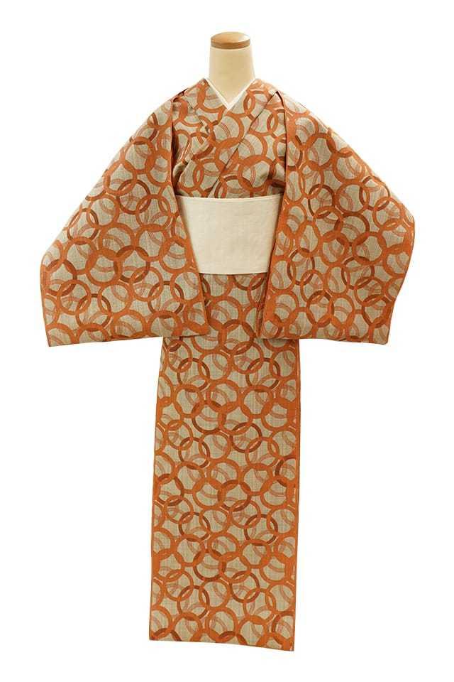 【反物】女性 『松煙染小紋』輪繋 オレンジ