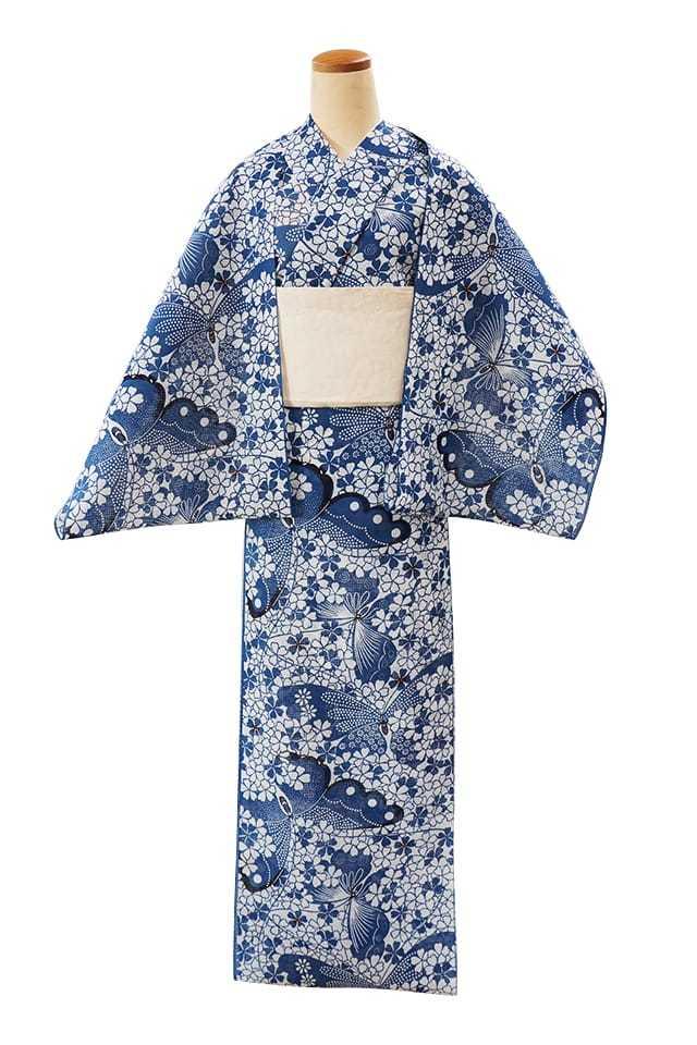 【反物】女性 『紅梅小紋』桜に蝶