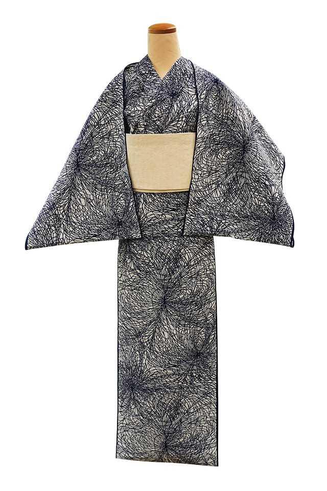 【反物】女性 『縮長板本染中形』糸菊 白地