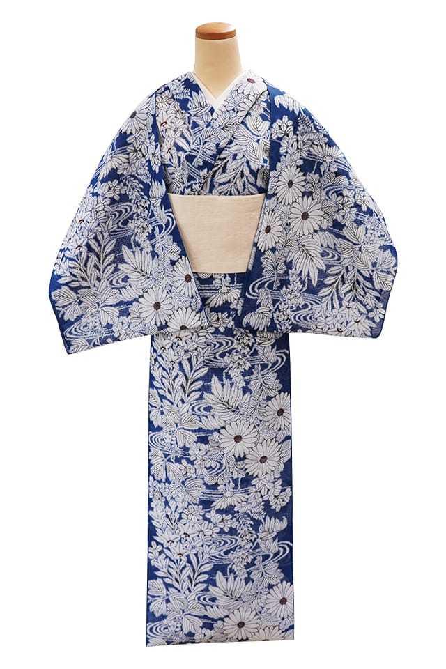 【反物】女性 『紅梅小紋』菊と桐 萩桔梗に流水