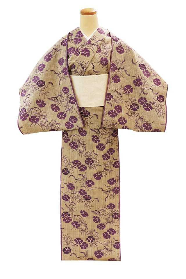 【反物】女性 『松煙染小紋』撫子と秋の蝶 古代紫