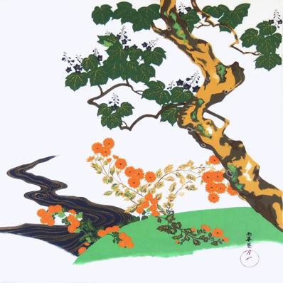 【お膳掛】桐に菊