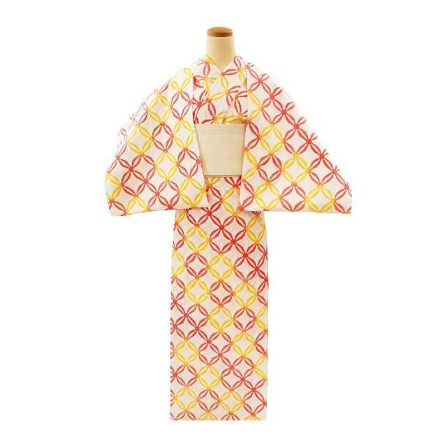 【反物】女性 『コーマ白地差分』絣七宝繋 黄ピンク