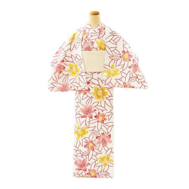 【反物】女性 『コーマ白地差分』百合 ピンク黄色