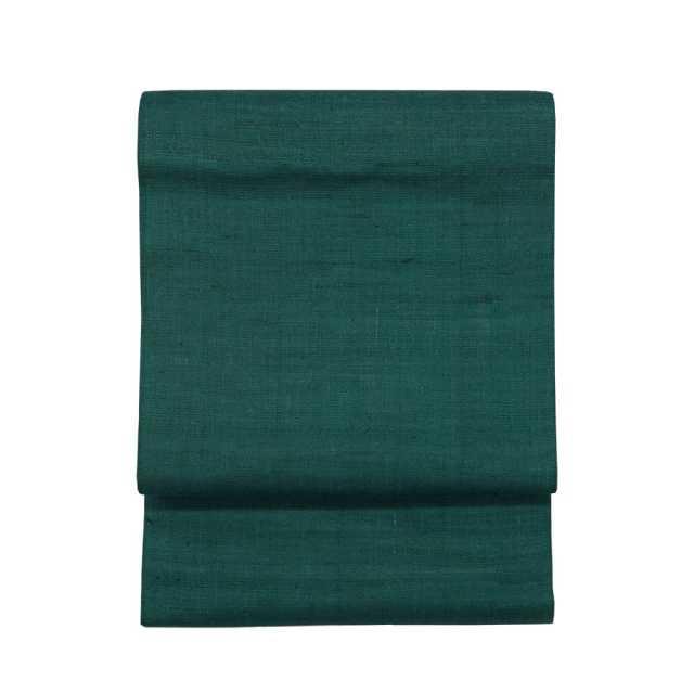 【麻八寸帯】 濃緑×生成