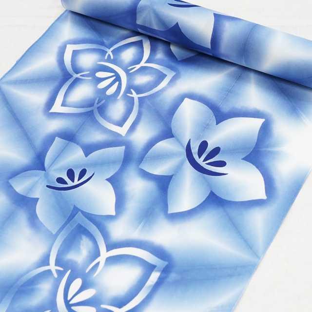 【通販限定浴衣反物】女性 『板締ゆかた:キングサイズ』桔梗 薄藍色