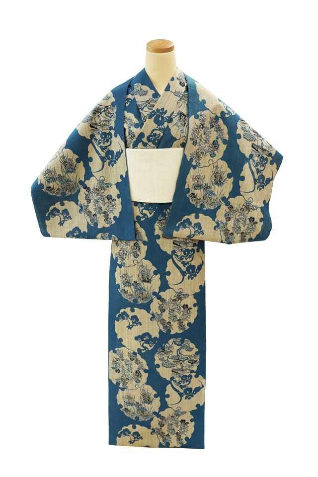 【反物】女性 『奥州小紋』雪輪に松 菖蒲 撫子