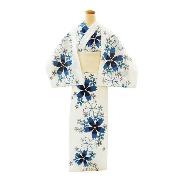 【反物】女性 『綿絽 白地』 桜 ブルー