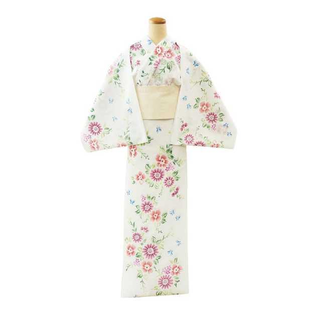 【反物】女性 『綿絽 白地』 菊に蝶