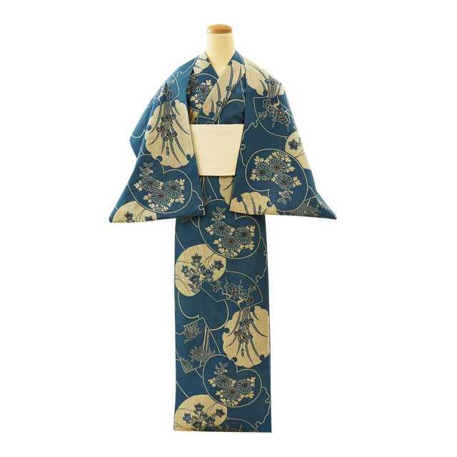【反物】女性 『奥州小紋』 文様重ね草花模様