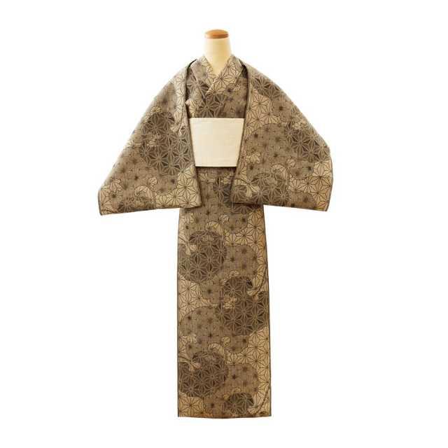 【反物】女性 『松煙染小紋』 麻の葉に石蕗
