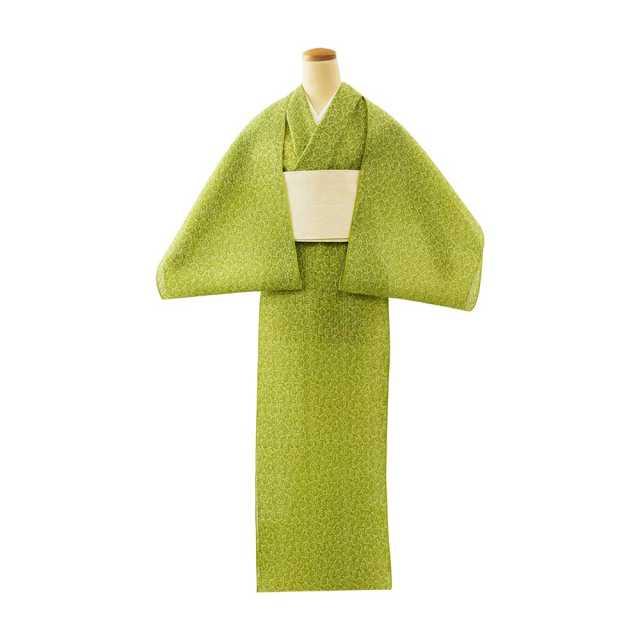 【反物】女性 『絹紅梅』福良雀 鶸色