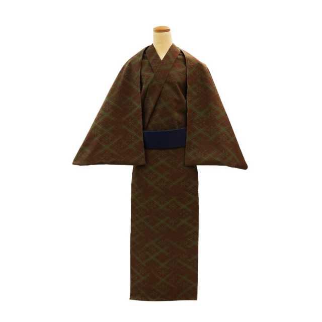 【反物】男性 『細川クレヤーキング』コーマ地 やぶれ業平格子 茶地グリーン