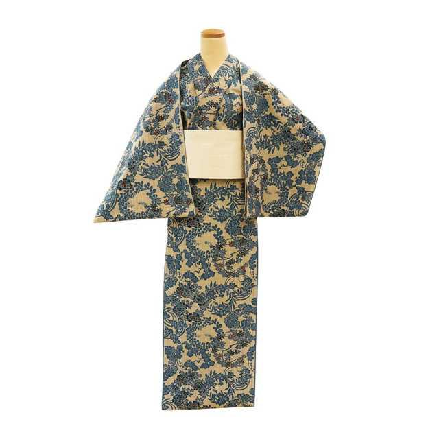 【反物】女性 『奥州小紋』 花の丸