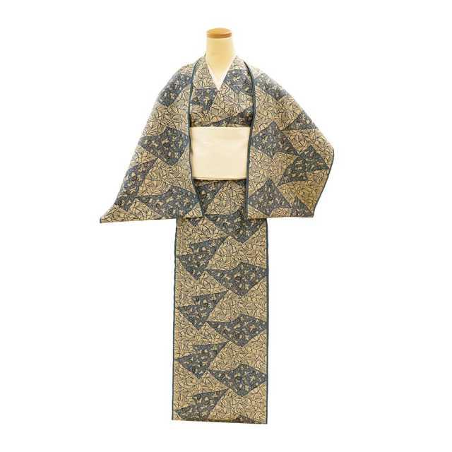 【反物】女性 『奥州小紋』切継ぎ小紋 桐と芒