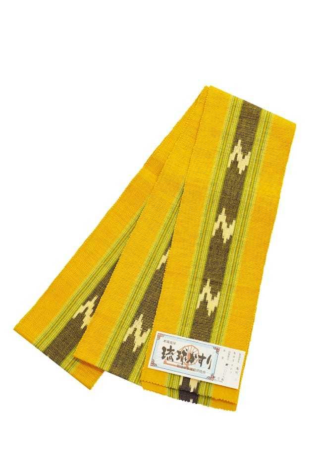 【琉球かすり半巾帯】 辛子地 緑絣