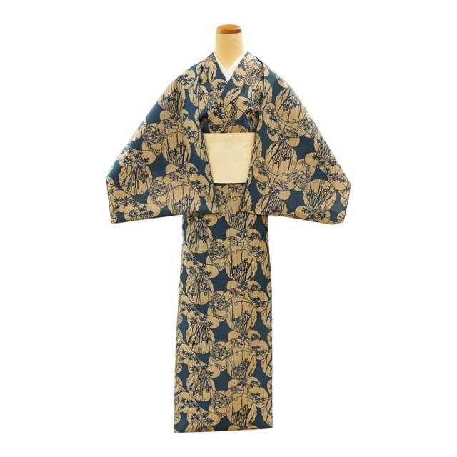【反物】女性 『奥州小紋』 雪輪松取りに草花