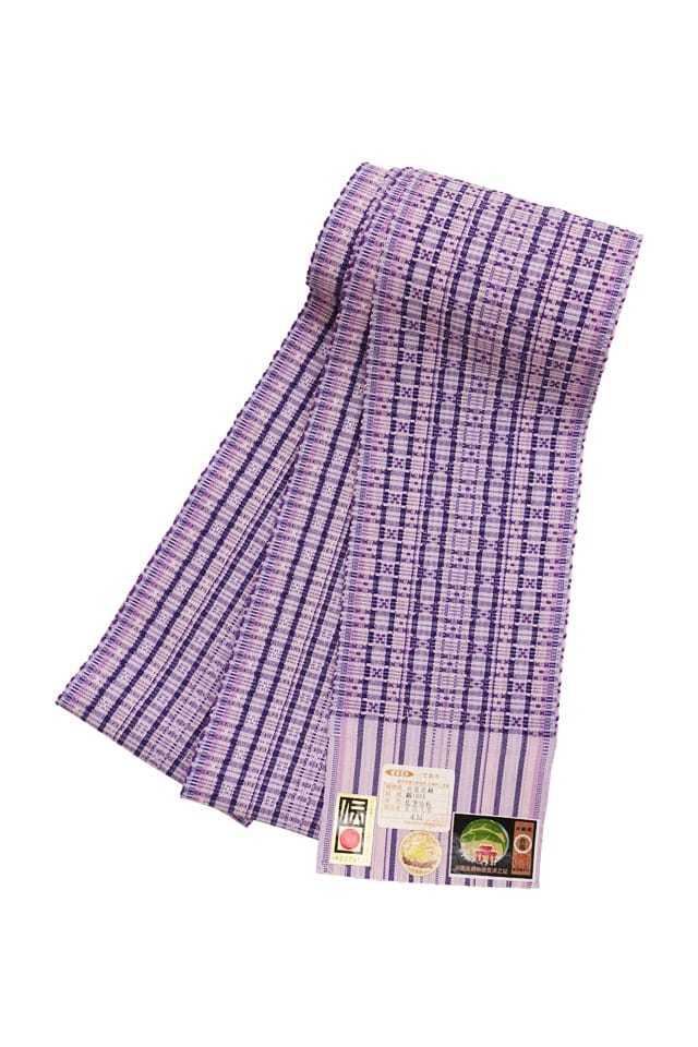 【道屯花織半巾帯】パープル濃淡