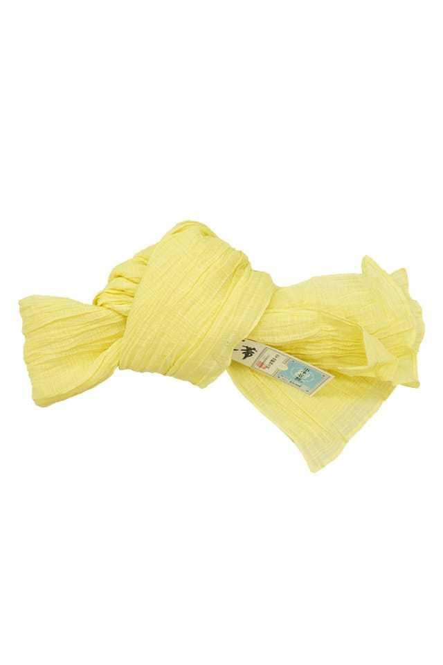 【麻兵児帯】淡黄色