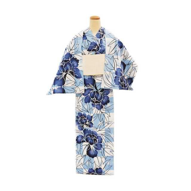 【反物】女性 『玉むし』白紬 市松に牡丹
