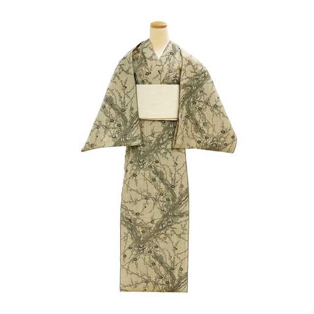 【反物】女性 『松煙染小紋』古木の梅