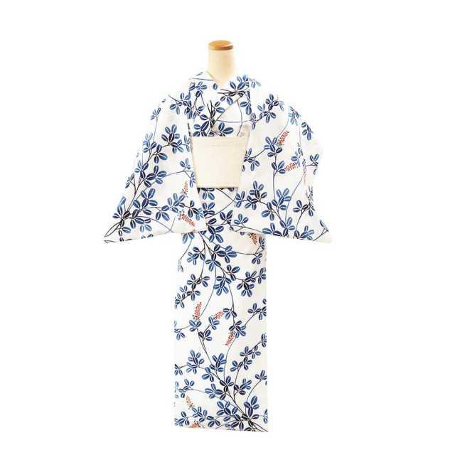 【反物】女性 『コーマ白地差分』中ぶり萩 ブルーぼかし色差
