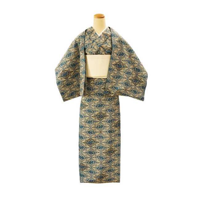 【反物】女性 『奥州小紋』菊繋ぎ鳳凰菱