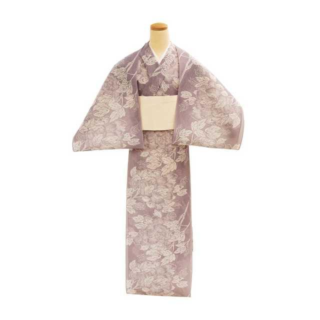 【反物】女性 『絹紅梅』風に吹かれる牡丹 薄葡萄色