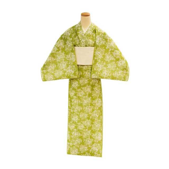 【反物】女性 『絹紅梅』花丸 菊桐竹楓蘭 鶸色