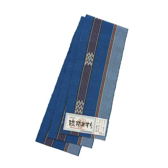【琉球かすり半巾帯】青地 紫・白・黄・赤
