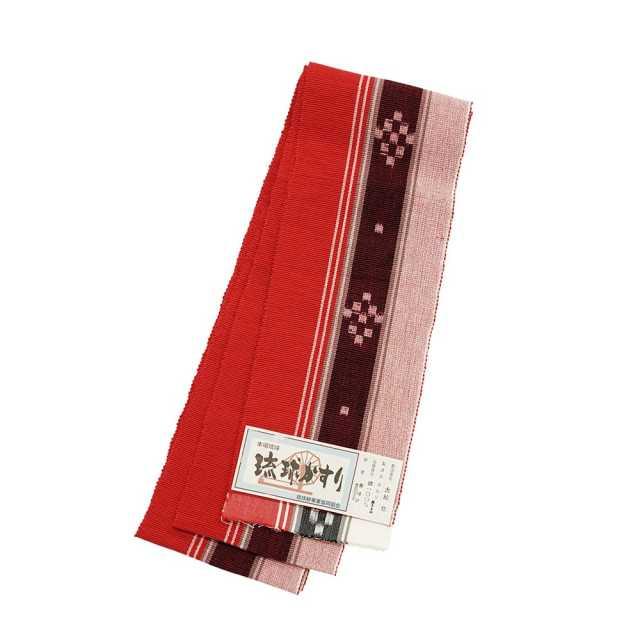 【琉球かすり半巾帯】赤地 白・紺