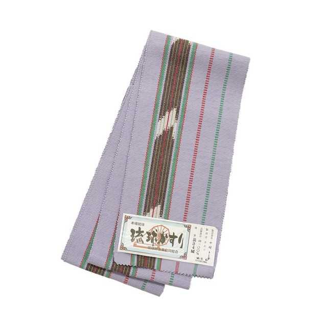 【琉球かすり半巾帯】薄紫地 赤・緑・茶