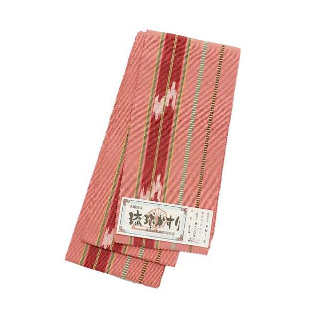 【琉球かすり半巾帯】ピンク地 緑・黄