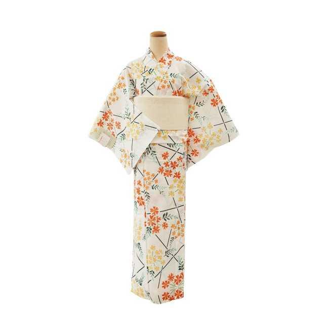【浴衣プレタ】女性 『綿絽白地』小花に格子 <Mサイズ>