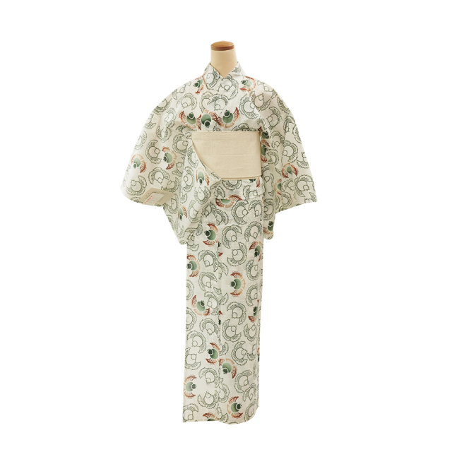 【浴衣プレタ】女性 『綿絽白地』福良雀 グリーン 茶差 <Mサイズ>