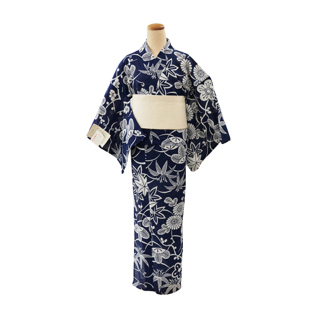 【浴衣プレタ】女性 『綿絽地染』松梅と菊紅葉 納戸 <Mサイズ>
