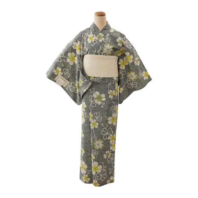 【浴衣プレタ】女性 『紬ゆかた』クローバー 黄緑  <Mサイズ>